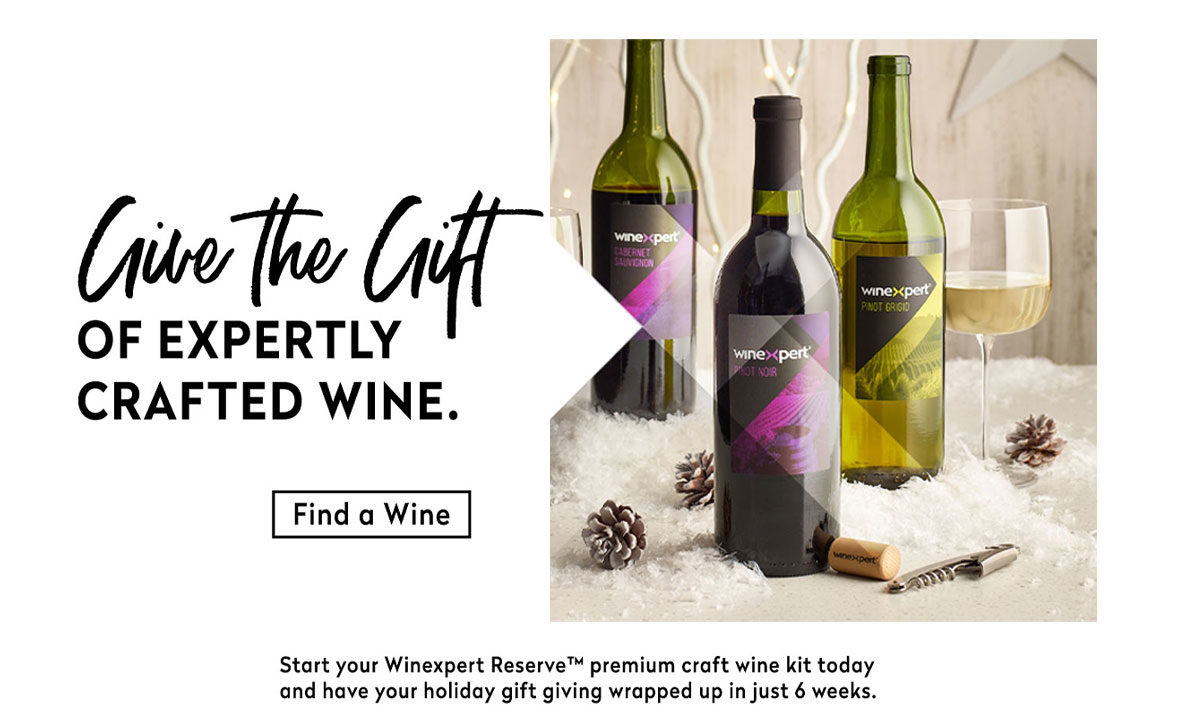 Give the Gift of expertly crafted Winexpert Reserve Wine